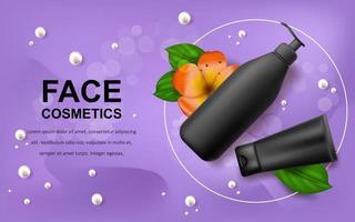 illustrazione realistica di vettore con fiore hawaiano tropicale di botlles cosmetici neri mockup vuoto. banner per pubblicità e promozione di prodotti cosmetici. utilizzare per poster, cartoline