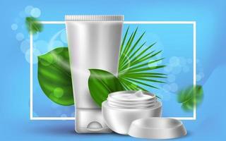 illustrazione cosmetica realistica di vettore con tubo di crema e un barattolo. foglie di palma tropicale su sfondo blu. banner per pubblicità e promozione di prodotti cosmetici. utilizzare per poster, cartoline