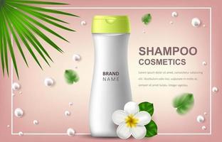 illustrazione realistica di vettore con lo spazio in bianco di una bottiglia per shampoo. frangipane di fiori hawaiani tropicali. banner per pubblicità e promozione di prodotti cosmetici. utilizzare per poster, cartoline