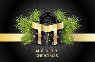 regalo di Natale con rami verdi di abete rosso. scatola da imballaggio con stelle dorate e fiocco nero. nastro d'oro su sfondo nero. sfondo vettoriale per banner, carte, cartoline, presentazioni e poster.