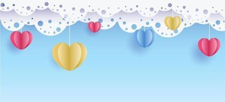 San Valentino. vettore sfondo blu dolce e carino con cuori di colore carta tagliata con nuvole e pizzo. banner e carta per sito e carte. matrimonio e amore