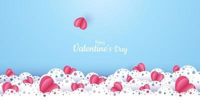 San Valentino. vettore sfondo blu pastello con cuori rossi tagliati di carta 3d. un bel ornamento in pizzo. un posto per il testo. banner o invito per un matrimonio o una vacanza. amore
