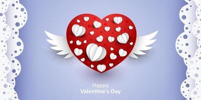 felice san valentino. vettore sfondo viola dolce e carino con cuori rossi tagliati di carta con sfondo di ali per il sito del matrimonio e invation