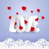 San Valentino. vettore lettere di carta con cuori rossi su sfondo lilla. nuvole a forma di pizzo. banner, cartolina, invito