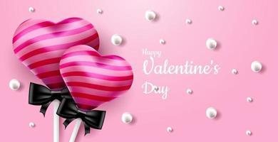 San Valentino. vettore sfondo rosa dolce e carino con lecca-lecca caramelle 3d realistiche e perle. banner per il sito o cartoline. posto per il testo