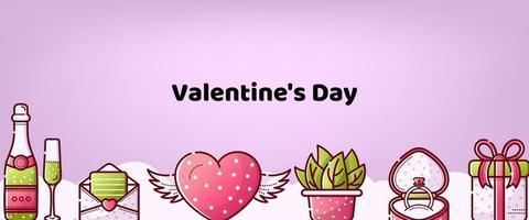 San Valentino. vettore sfondo carino per banner, cartolina, cuore, regalo, champagne, anello e fiori. stile lineare. matrimonio e amore