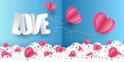 San Valentino. vettore sfondo blu pastello con cuori rossi tagliati di carta 3d. un bel ornamento in pizzo. un posto per il testo. banner o invito per un matrimonio o una vacanza. lettere d'amore