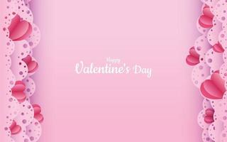San Valentino. vettore sfondo rosa pastello con cuori rossi tagliati carta 3d. un bel ornamento in pizzo. un posto per il testo. banner o invito per un matrimonio o una vacanza. amore
