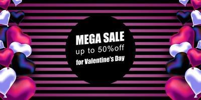 San Valentino. banner vettoriale con palloncini realistici a forma di cuore e uno sfondo a strisce. offerta mega sconto. banner, cartolina con un posto per il testo