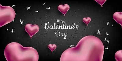San Valentino. uno sfondo nero dolce carino con cuori 3d realistici e coriandoli. illustrazione vettoriale per banner, card. invito a nozze, festa della mamma