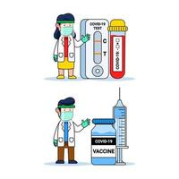 dottore simpatico personaggio dei cartoni animati con strumento diagnostico covid e bottiglia di vaccino