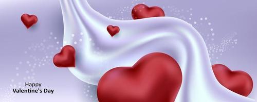 San Valentino. uno sfondo viola carino dolce con cuori 3d realistici e fluido. illustrazione vettoriale per banner, card. invito a nozze, festa della mamma