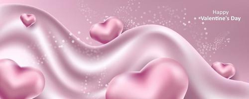 San Valentino. un delicato sfondo rosa carino con cuori 3d realistici e fluido. illustrazione vettoriale per banner, card. invito a nozze, festa della mamma