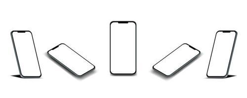 display dello smartphone con cinque angolazioni vettore