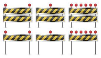 barriera in costruzione per set stradale vettore