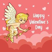 saluti di San Valentino con Cupido vettore