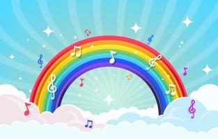 note musicali intorno all'arcobaleno vettore