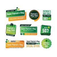 etichette di vendita del giorno di san patrizio vettore