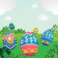 concetto di sfondo carino uovo di pasqua vettore