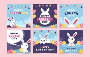 il giorno di pasqua saluto raccolta di post di instagram con illustrazione di coniglio vettore