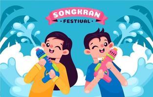 persone felici che celebrano il festival di songkran vettore