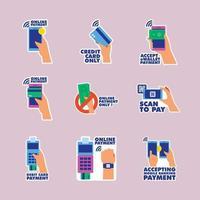 raccolta dell'etichetta del metodo di pagamento senza contanti untact vettore