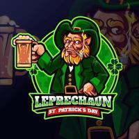 leprechaun che tiene un disegno della maglietta della birra vettore