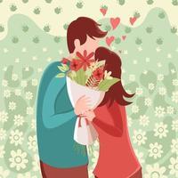 illustrazione piatta di una coppia che si bacia tenendo il mazzo di fiori vettore