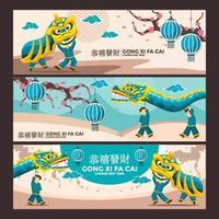 raccolta di bandiere cinesi di festa vettore