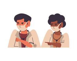 diversi medici che utilizzano personaggi di maschere facciali vettore