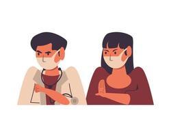 medico maschio con paziente femminile in maschere vettore