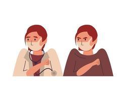 dottoressa e paziente che utilizzano caratteri di maschere facciali vettore
