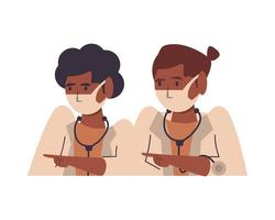 dottoresse nere che usano personaggi di maschere facciali vettore