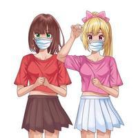 ragazze che usano maschere per il viso personaggi anime vettore