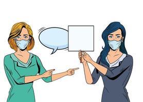donne che usano maschere facciali per covid19 con banner e fumetto vettore