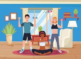 persone interrazziali che praticano esercizio in casa