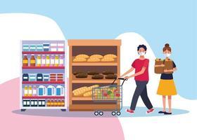 coppia shopping nel supermercato con maschera facciale vettore