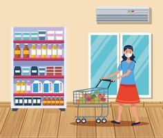 donna shopping nel supermercato con maschera facciale vettore