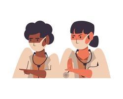 dottoresse interrazziali che utilizzano personaggi di maschere facciali vettore