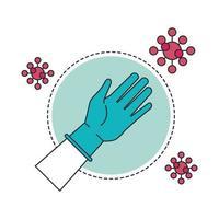 mano con guanto di gomma protezione medica e particelle covid19 vettore