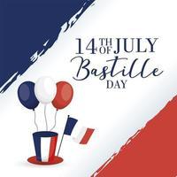 carta di celebrazione del giorno della bastiglia con bandiera francese, palloncini e cappello a cilindro vettore