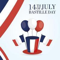 carta di celebrazione del giorno della bastiglia con bandiere francesi, palloncini e cappello a cilindro vettore