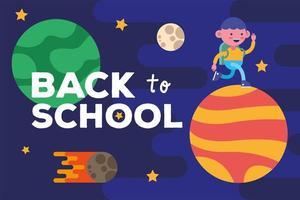torna a scuola banner con ragazzino studente su un pianeta vettore