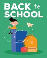 torna a scuola banner con ragazzo studente con libro vettore