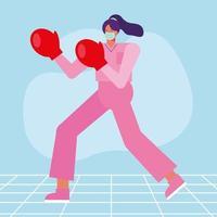 chirurgo professionista femminile che indossa guantoni da boxe vettore