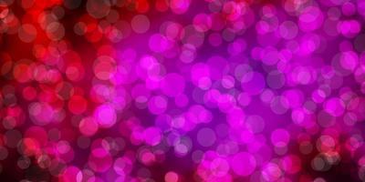 sfondo vettoriale rosa scuro con bolle.