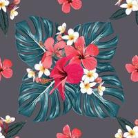 estate tropicale senza cuciture con ibisco rosso, fiori di frangipani e foglie di monstera verde su sfondo isolato. illustrazione vettoriale mano disegno a secco stile acquerello. per il design del tessuto.
