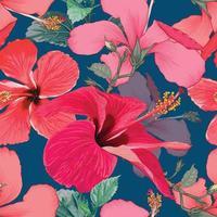 estate tropicale senza cuciture con fiori di ibisco rosso su sfondo blu scuro isolato. illustrazione vettoriale mano disegno a secco stile acquerello. per il design del tessuto.
