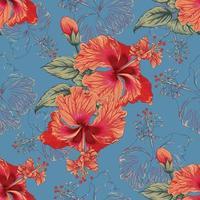 fiori di ibisco motivo floreale senza soluzione di continuità su sfondo blu astratto. illustrazione vettoriale acquerello disegnato a mano.