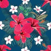 estate tropicale senza cuciture con ibisco rosso e fiori di frangipane sfondo astratto. illustrazione vettoriale mano disegno stile acquerello. per il design del tessuto.